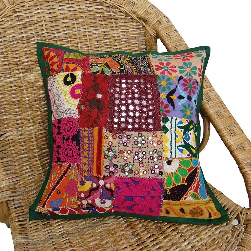 Cojin patchwork de flores